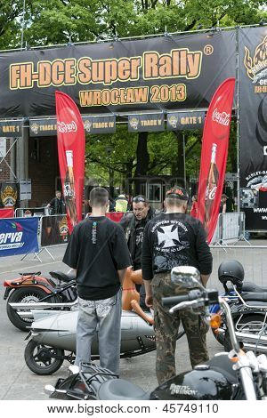 WROCLAW, POLAND - MAY 18: Harley Davidson motorcycle riders in front of the gate