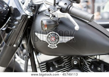 WROCLAW, POLAND - MAY 18: Detail of Harley Davidson motorcycle parked in the city during