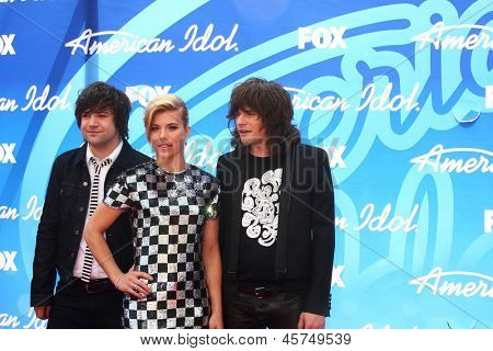 LOS ANGELES - MAY 16:  Neil Perry, Kimberly Perry and Reid Perry arrive at the American Idol Season 12 Finale at the Nokia Theater at LA Live on May 16, 2013 in Los Angeles, CA