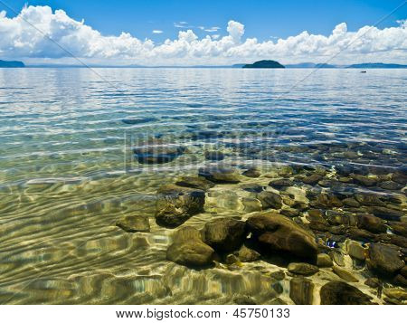 Crystal clear water of Lake Taupo in the North Island of New Zealand