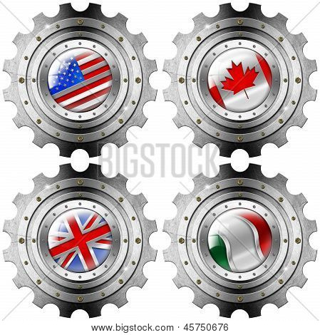 Usa Canada Uk Italy Gears Metal Flags