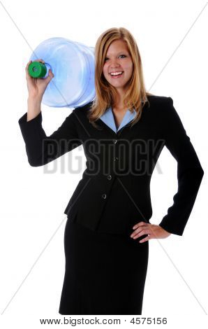 Woman Holding Large Water Container