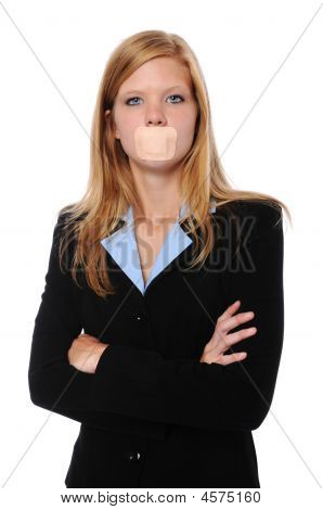 Businesswoman With Bandage Over Mouth