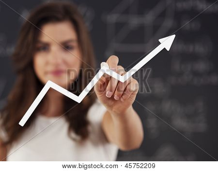 Woman drawing graph