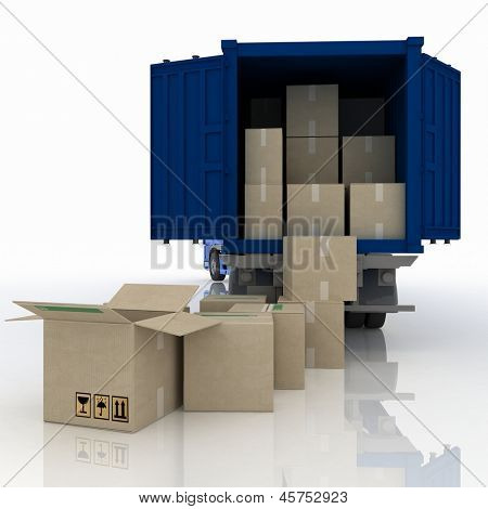 truck  with boxes. 3d  illustration isolated on white background