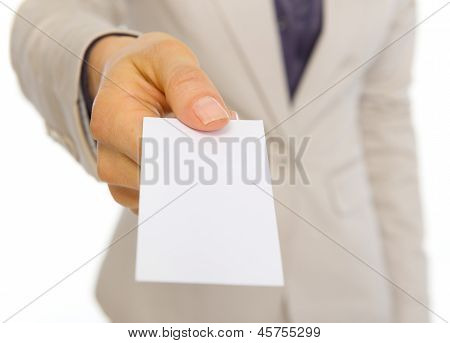 Closeup On Business Woman Giving Business Card