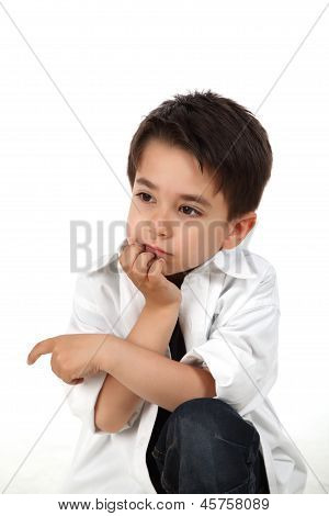 Attractive Child In Serious Pose