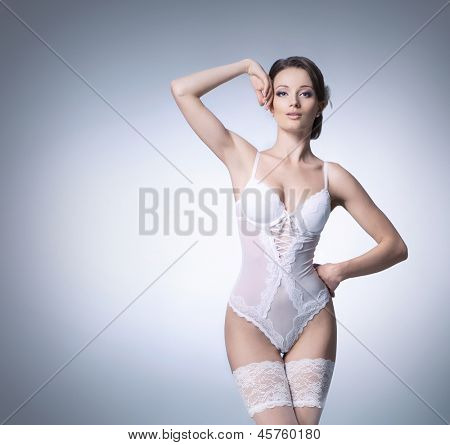 Bride in erotic lingerie with some blank space