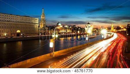 Panorama of the embankment of Moskva River near Kremlin in Moscow in night time.