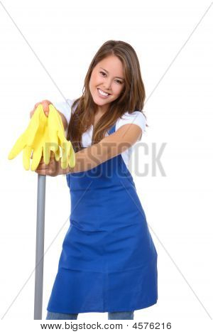 Cute Maid With Mop