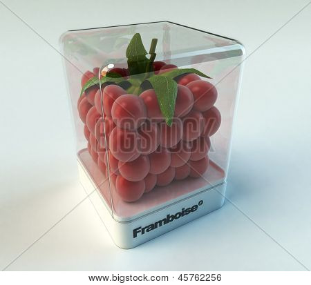 A cubic raspberry in a showcase with the word framboise  (Raspberry, French)