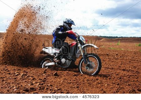 Off-road Motorbike Driving In Dirt.