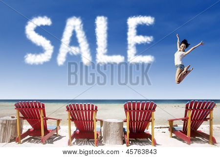 Advertising Sale Jump Over Beach Chairs