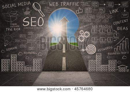 Business Seo Doodle On Blackboard With Success Road