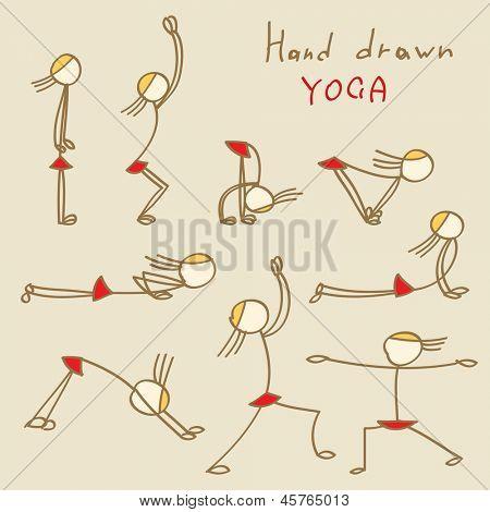 Set of Hand Drawn Yoga Asana