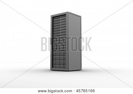 Rack of servers on white background