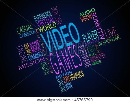 Video games terms together written in different colours