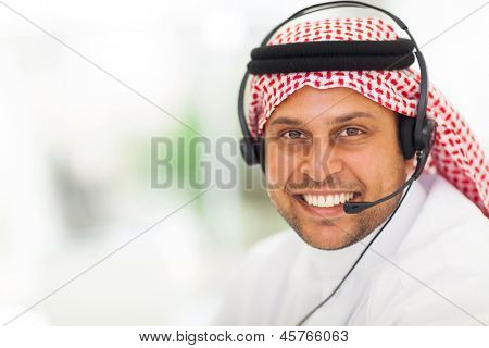 arabic business man with headphone in office