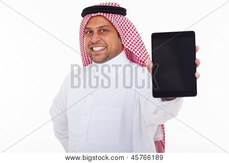 close up portrait of muslim man showing tablet computer over white background