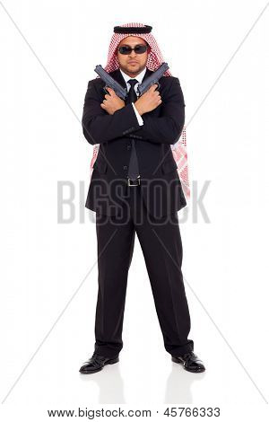 muslim body guard holding guns isolated on white