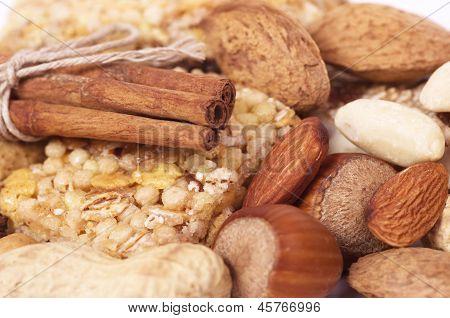 Tasty nuts and musli bars. Healthy food