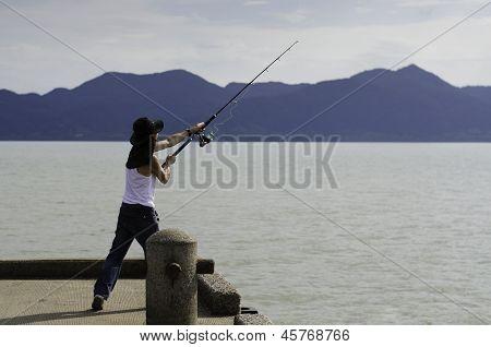 Fisherman Fishing Trolling In The Sea