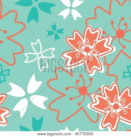 Japanese Inspired Floral Seamless Vector Pattern. Use as fills, backgrounds or to create digital paper to print out and make items for scrap booking.