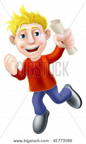 Jumping Happy Man And Scroll