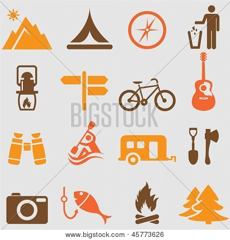 Camping set.vector de iconos