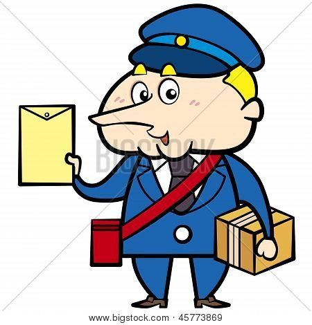 Cartoon Postman With Letter And Package