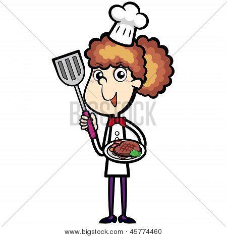 Cartoon Chef With Steak Dinner
