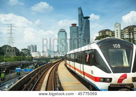 KUALA LUMPUR, MALAYSIA - APR 4: View of the city from Kelana Jaya Line on April 4, 2013 in Kuala Lumpur. Today KJL carries over 190,000 passengers a day and over 350,000 a day during national events.
