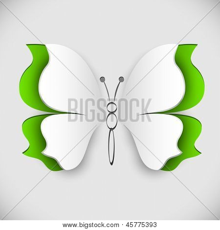 Paper butterfly with cut lifted wings vector illustration.