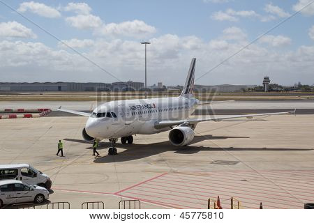 SEVILLE, SPAIN - MAY 17: An Air France-KLM aircraft at the Seville Airport on May 17, 2013 in Seville, Spain. Air France-KLM says it lost $821 million in the January-March 2013 quarter.