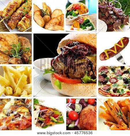 Collage of fast food items, including burgers, wraps, chicken, kebabs, fries and hot dog.