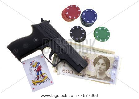 Gun, Chesspieces And Money