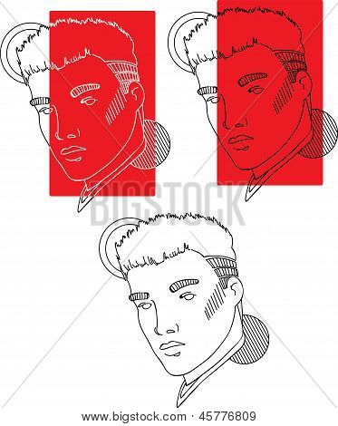 Man outline faces isolated on white