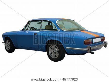 Retro Blue Car In Vector