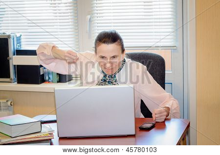 Senior Woman Raging Against The Computer