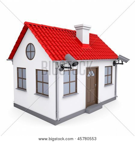 A small house with security cameras
