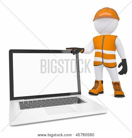 3d white man in overalls holding a laptop