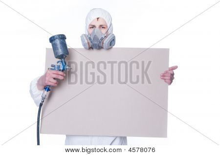 Man With Airbrush Gun And Blank