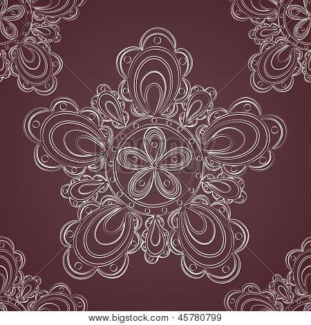Seamless lace pattern fantasy flowers