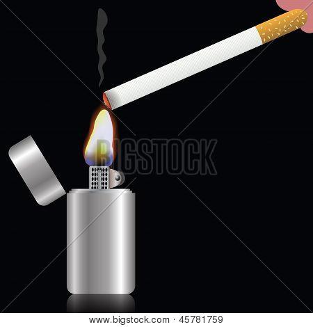 Zigarette und Feuerzeug