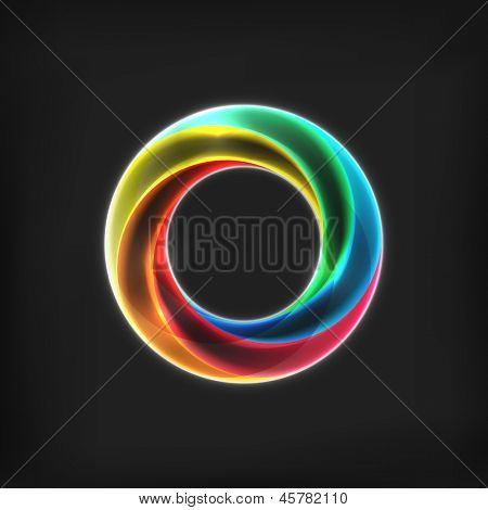 Abstract bright circle infinite loop icon on black background. Spectrum circle sign. Transparent circle
