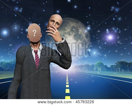 Man removes face showing query while standing on highway