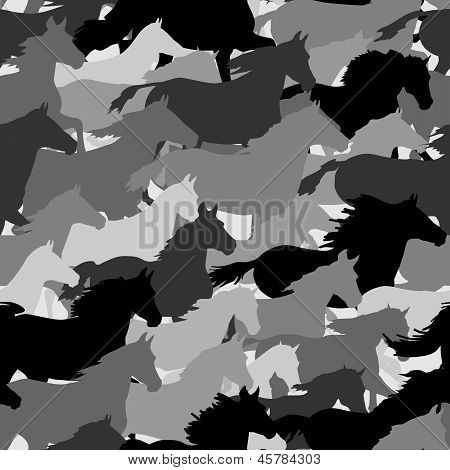 Seamless Background: Herd Of Horses.