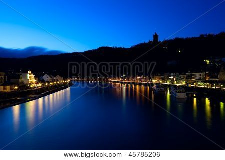 Silhouette Of Castle In Cochem At Night