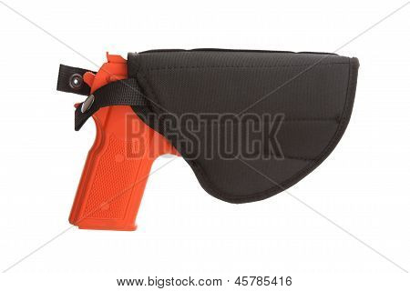 Dirty Red Training Gun Isolated On White