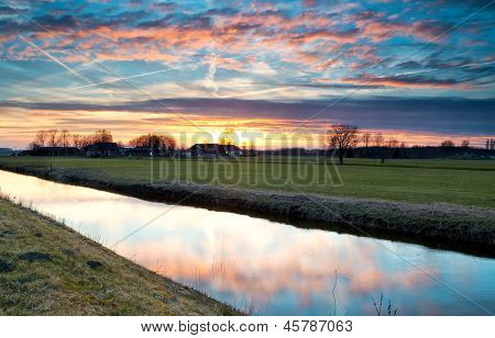 Dramatic Colorful Sunset Over Farmland